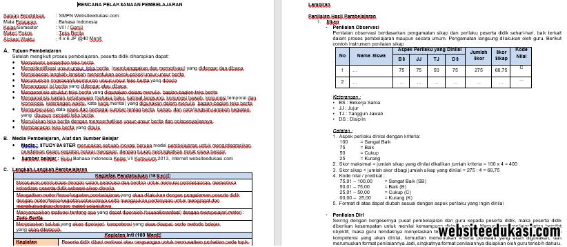 Rpp Bahasa Indonesia 1 Lembar Kelas 8 K13 Revisi 2020 Lengkap Websiteedukasi Com
