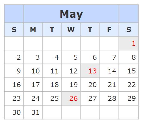 Kalender May 2021