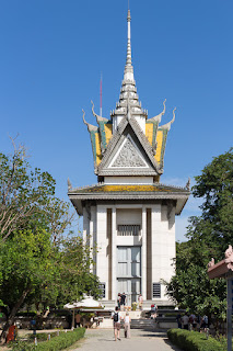 Tower at Killing Fields Choeung Ek Genocidal Center in Phnom Penh Cambodia