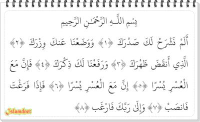Syarh dalam bahasa Indonesia artinya Melapangkan Surah Asy-Syarh dan Artinya
