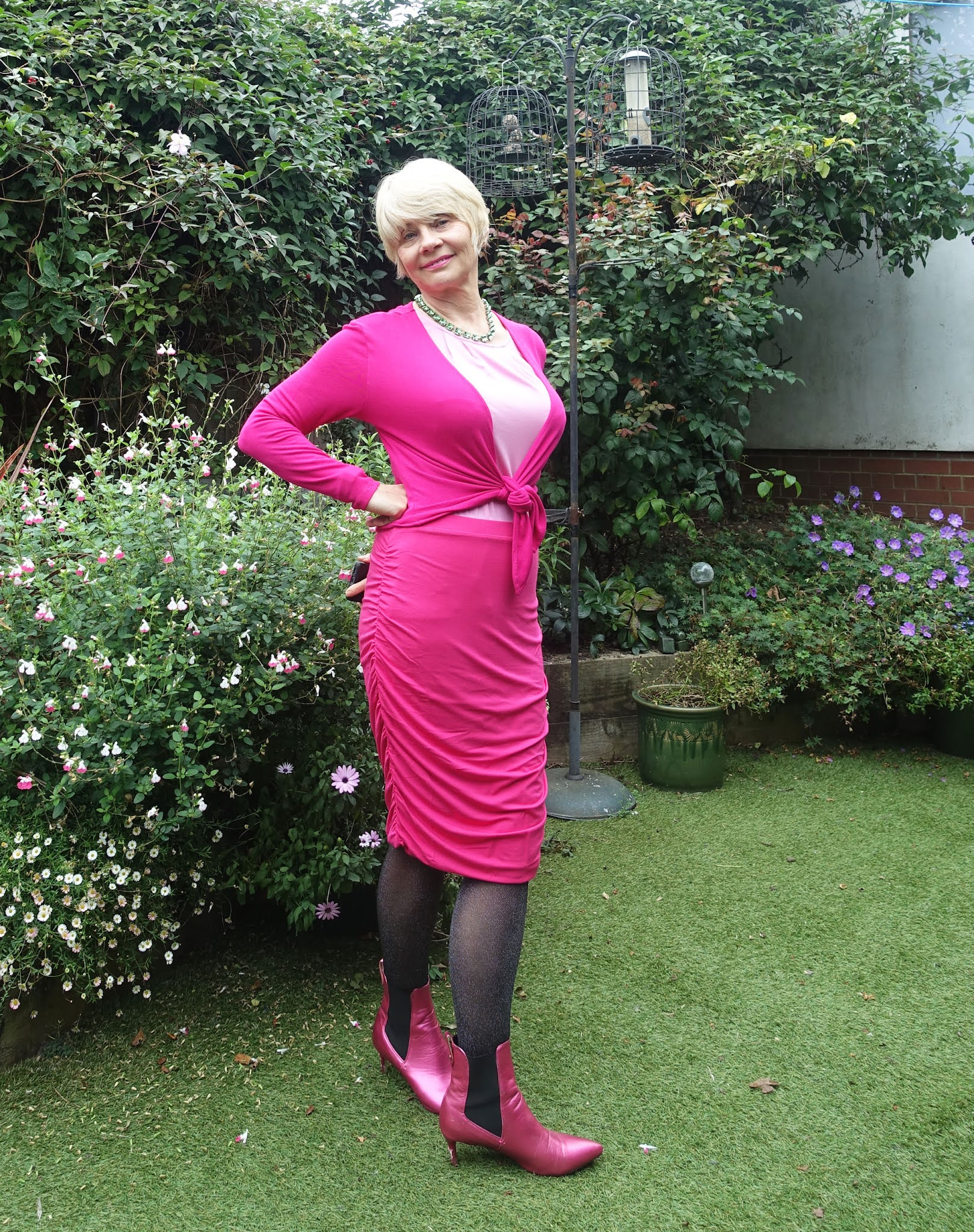 Gail Hanlon from over 50s style blog Is This Mutton in an all-pink outfit