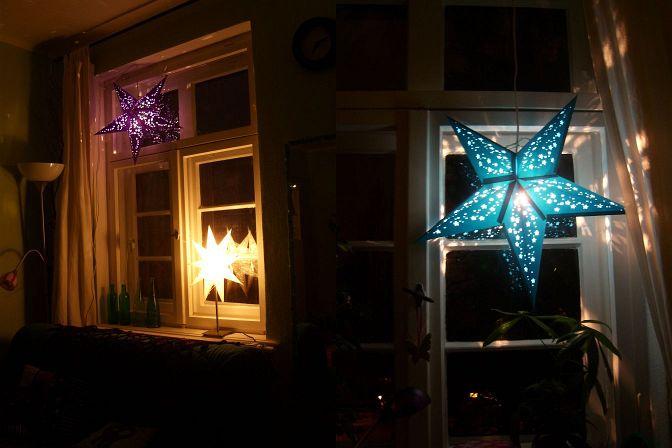 Papiersterne Weihnachtsbeleuchtung.Think Pink Wear Black Go Green Leuchtsterne Und Anderes Gelichter