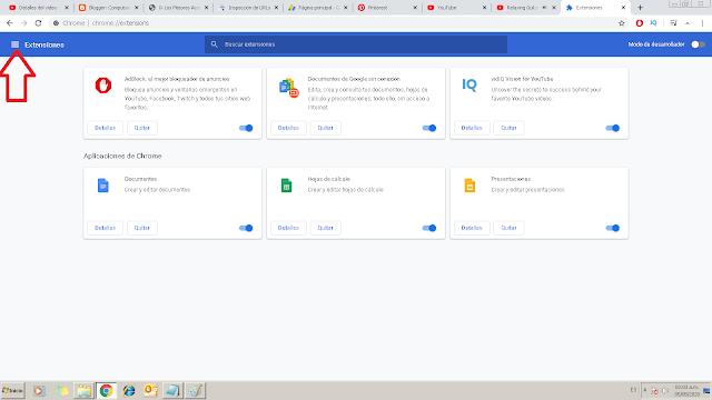 para entrar en la extensiones de google solo debes seguir los pasos después de herramientas ingresar en extensiones y extensiones