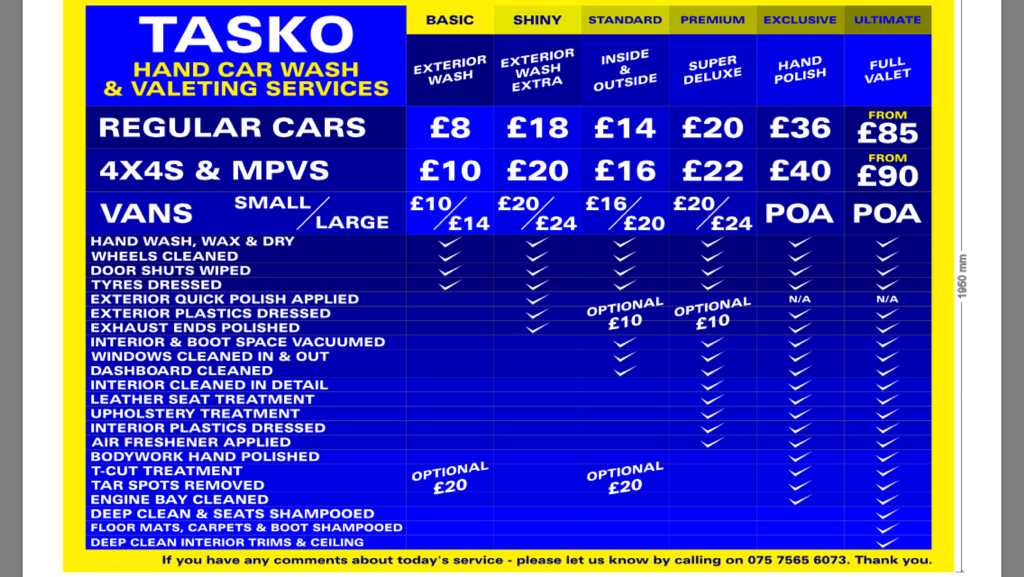 Car Wash & Valeting Harrow: Price List