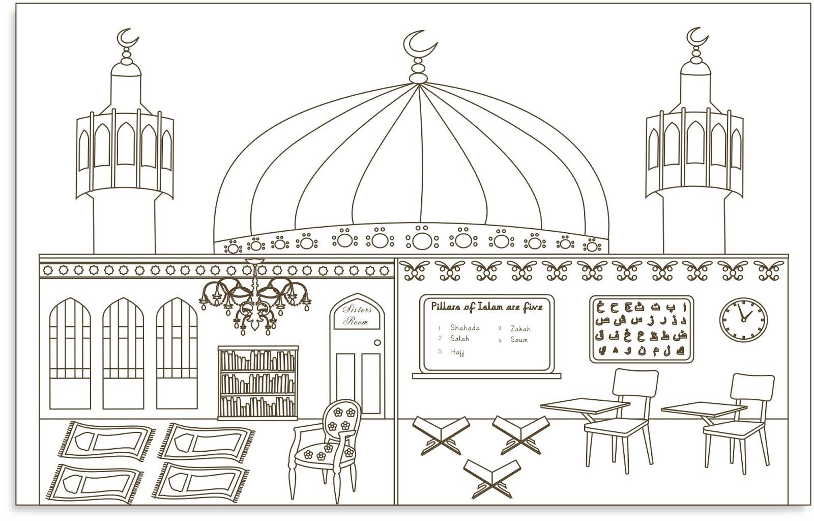 Gambar Mewarnai Masjid Dan Pemandangan Gambar Mewarnai