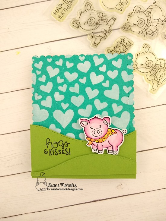 Hogs & kisses by Diane features Oink, Frames & Flags, Tumbling Hearts, and Land Borders by Newton's Nook Designs; #newtonsnook