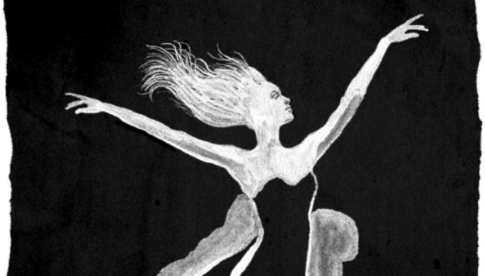 Imagem: ilustração em preto e branco, como que feita em giz de uma mulher branca com os cabelos longos flutuando no fundo preto.