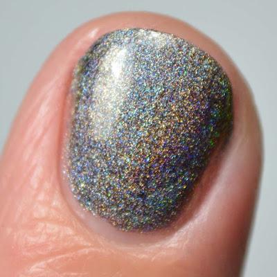 holographic grey nail polish swatch close up