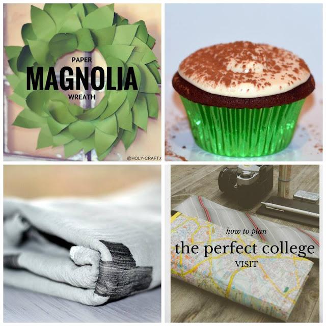 magnolia wreath, cupcakes,college visit