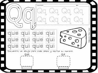 trazos de las silabas QUE y QUI