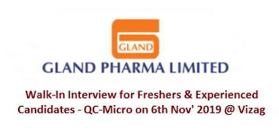 Gland Pharma Limited - Walk-in interview for Freshers and Experienced candidates on 6th November, 2019