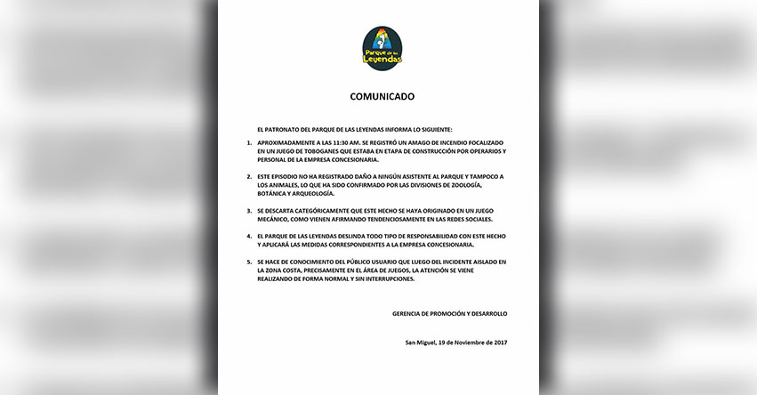 INCENDIO EN PARQUE DE LAS LEYENDAS: Comunicado Oficial - www.leyendas.gob.pe