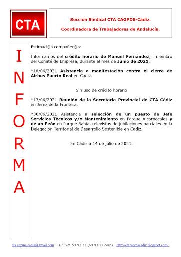 C.T.A. INFORMA CRÉDITO HORARIO MANUEL FERNANDEZ, JUNIO 2021