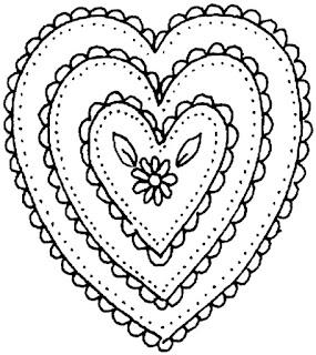 דף צביעה לבבות אחד בתוך השני