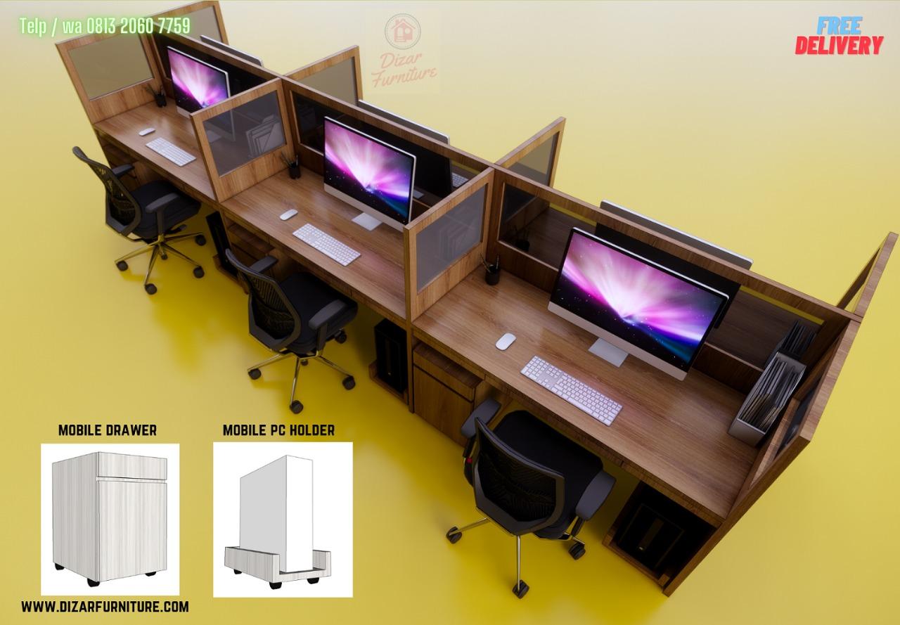 Meja Kubikel murah untuk 6 staf kantor