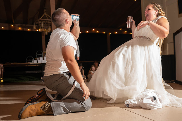 Bride and Groom hydrating Magnolia Manor Wedding Photos by Stuart Wedding Photographer Heather Houghton Photography