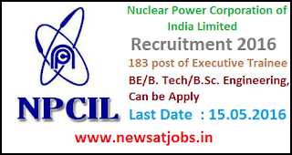 npcil+recruitment+2016