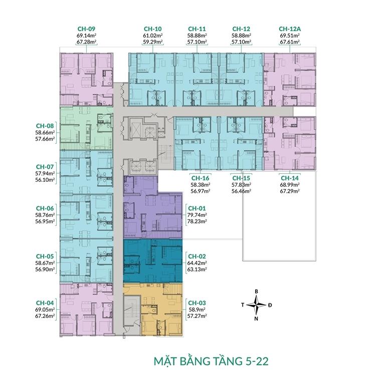 Mặt bằng tầng 5 -22 chung cư Areca Garden Bắc Giang