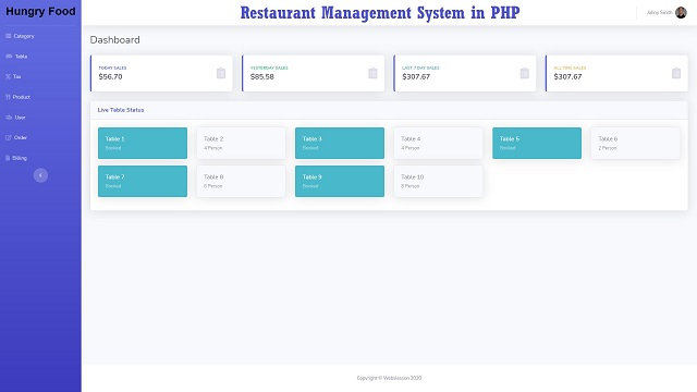 Restaurant Management System in PHP With Source Code