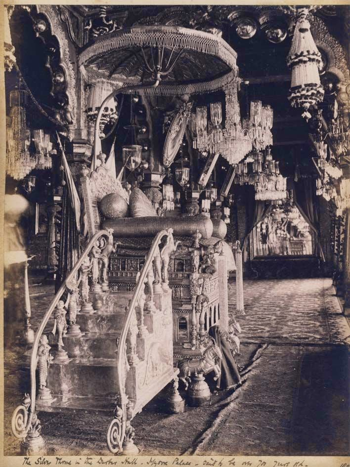 The Silver Throne in the Durbar Hall, Mysore Palace - Karnataka, 1895