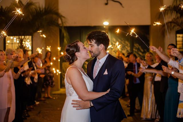 bride and groom Artisan Alley sparkler exit