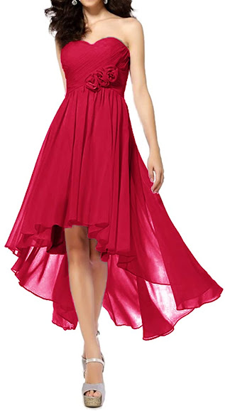 Pink Strapless Chiffon Bridesmaid Dresses
