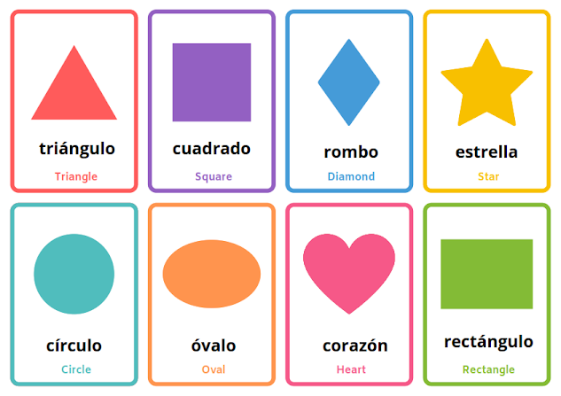 shapes in Spanish,  flashcards
