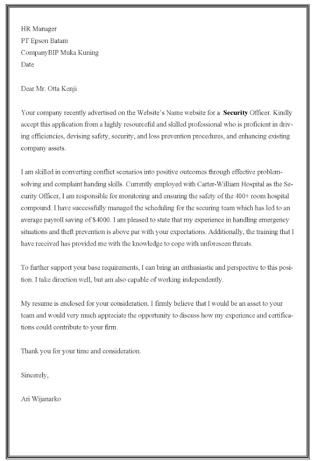 Contoh surat lamaran kerja Security dalam bahasa Inggris
