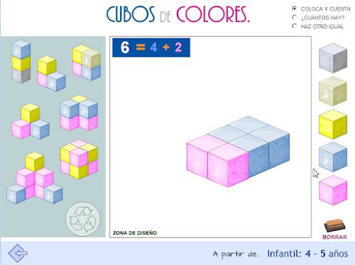 Cubos de colores. Conteo ascendente y descendente. Subitización. Cambio. Percepción espacial,...