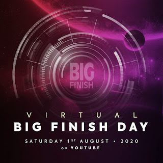 Virtual Big Finish Day written on a purple planetary abstract scene
