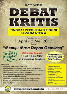 (Gratis) Lomba Debat Tingkat Perguruan Tinggi di Sumatra 2017