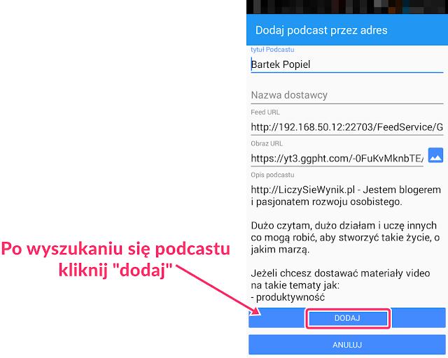 Subskrybowanie YouTube (tylko audio) w aplikacji do Podcast Republic