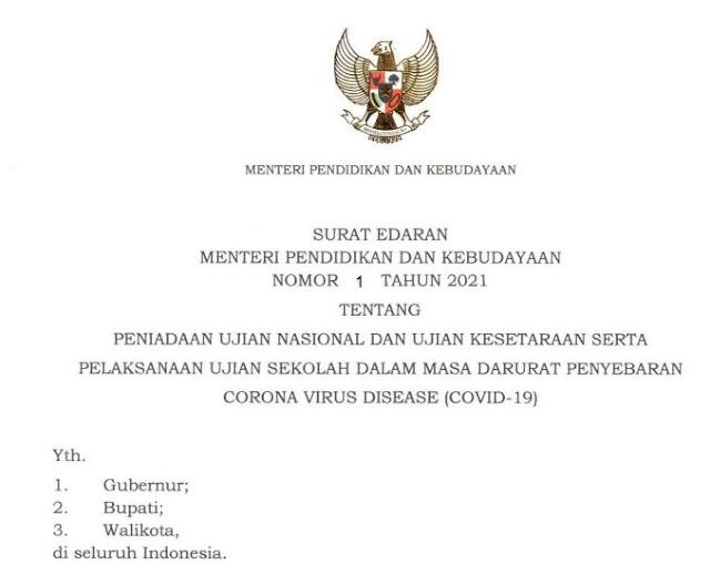 Surat Edaran Kemdikbud No 1 Tahun 2021