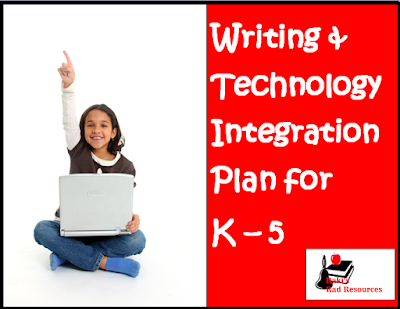 Free writing and technology integration matrix with four project ideas per grade level for kindergarten through fifth grade - free download from Raki's Rad Resources.