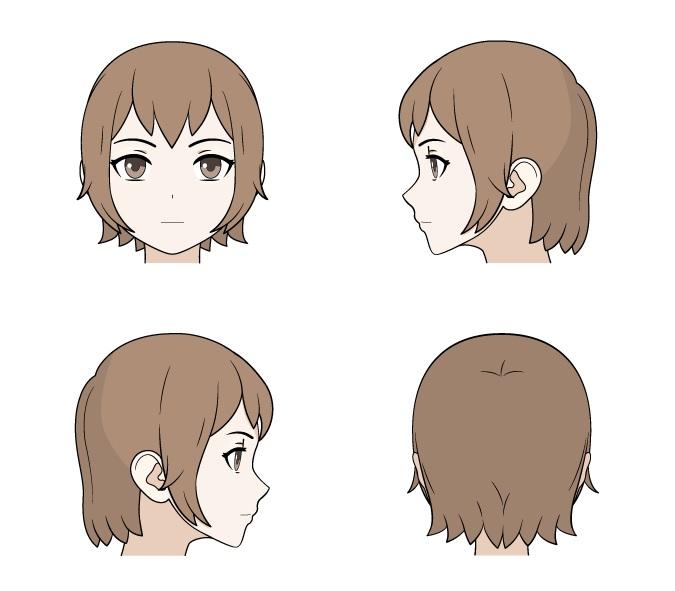 Menggambar rambut anime panjang depan tampilan, belakang dan samping