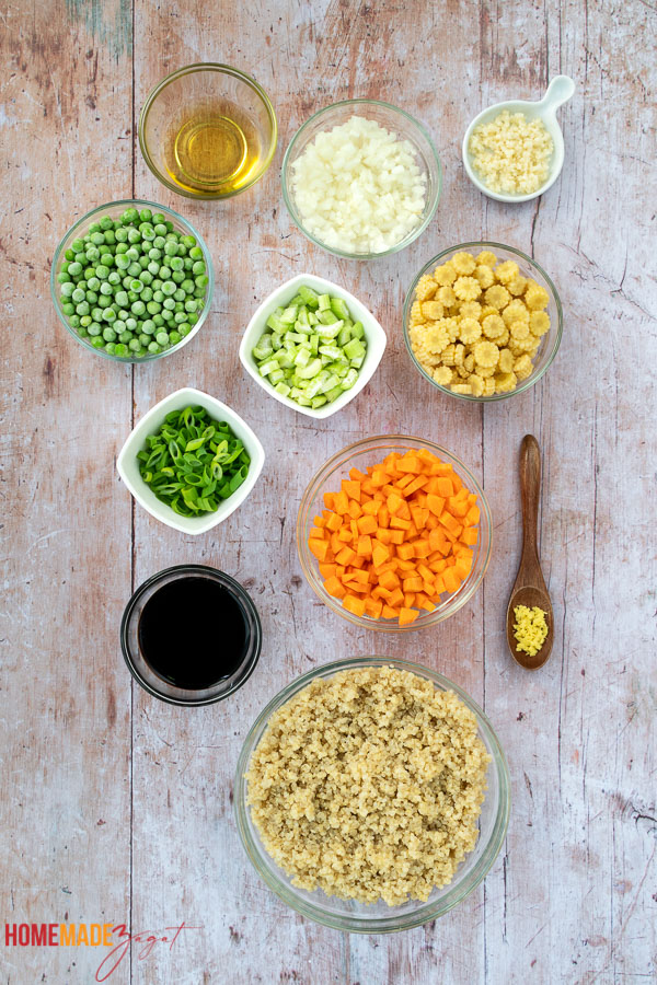 All the ingredients needed to make this rice recipe with quinoa