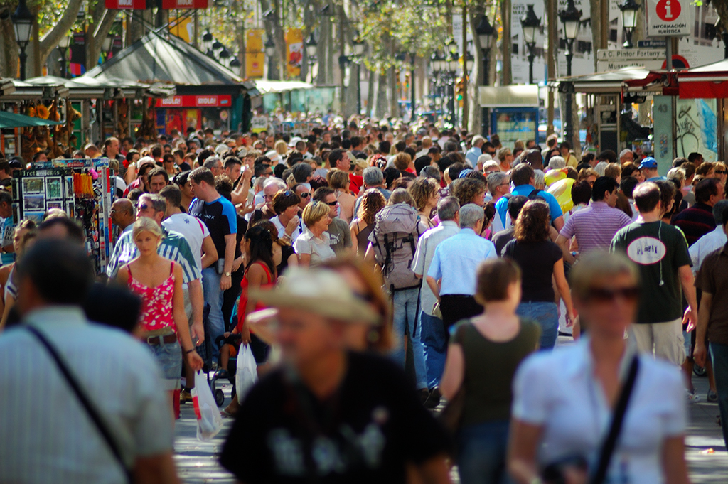 Crowded Las Ramblas in Barcelona on Sunday morning