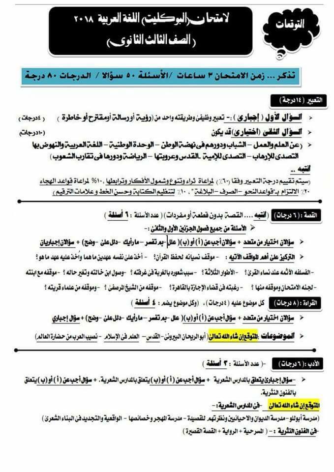 توقعات امتحان اللغة العربية