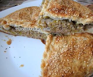 греческий пирог с тыквой и фаршем