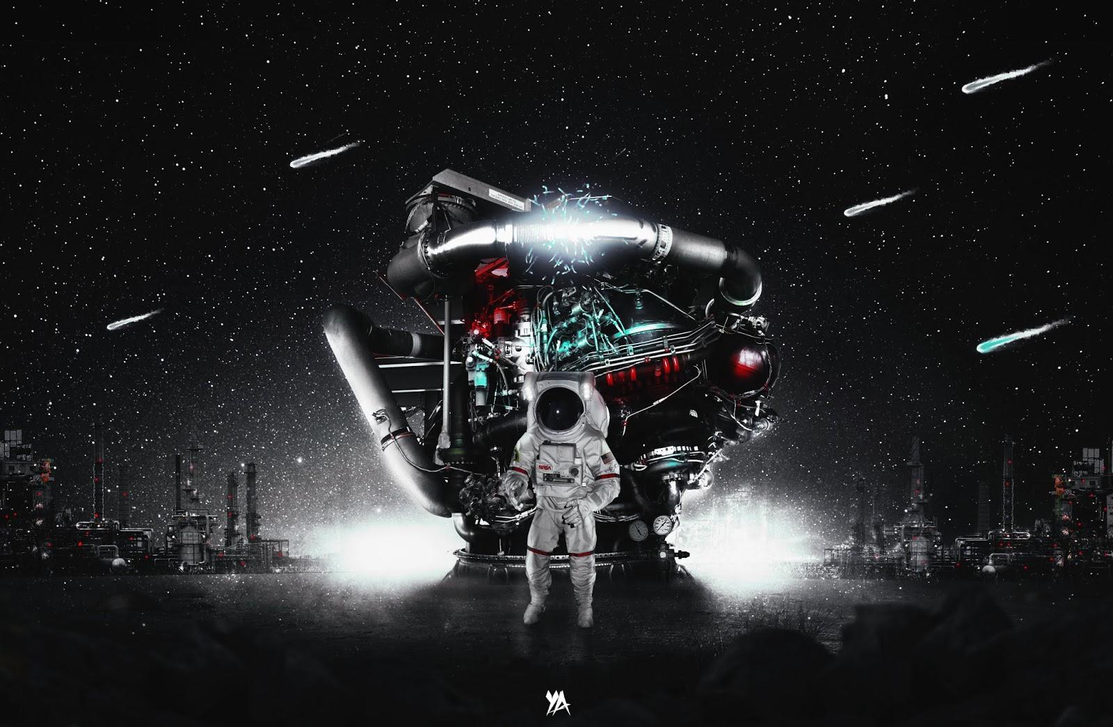 Astronaut, Darkness, Meteors, Black, HD, Space
