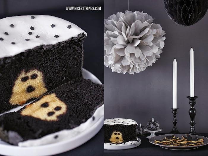 Halloween Sweet Table In Schwarz Weiss Mit Geister Torte Nicest Things