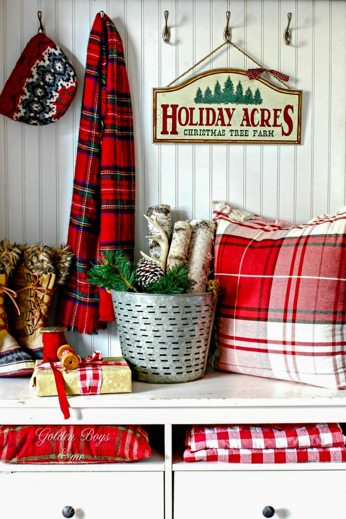 Christmas mudroom with plaid and birch - www.goldenboysandme.com