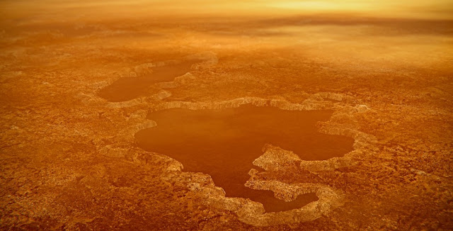 An artist's concept of a lake at the north pole of Saturn's moon Titan illustrates raised rims and rampart-like features such as those seen by NASA's Cassini spacecraft around the moon's Winnipeg Lacus.