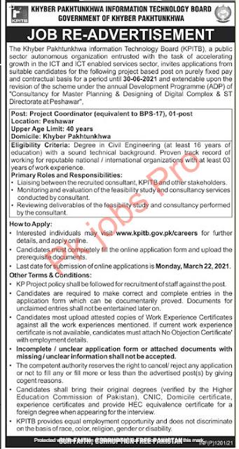 Khyber Pakhtunkhwa Information Technology Board Jobs 2021