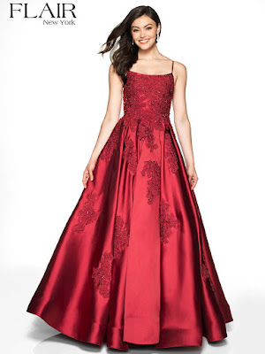 Lace Mikado Flair Prom Dress Wine Color
