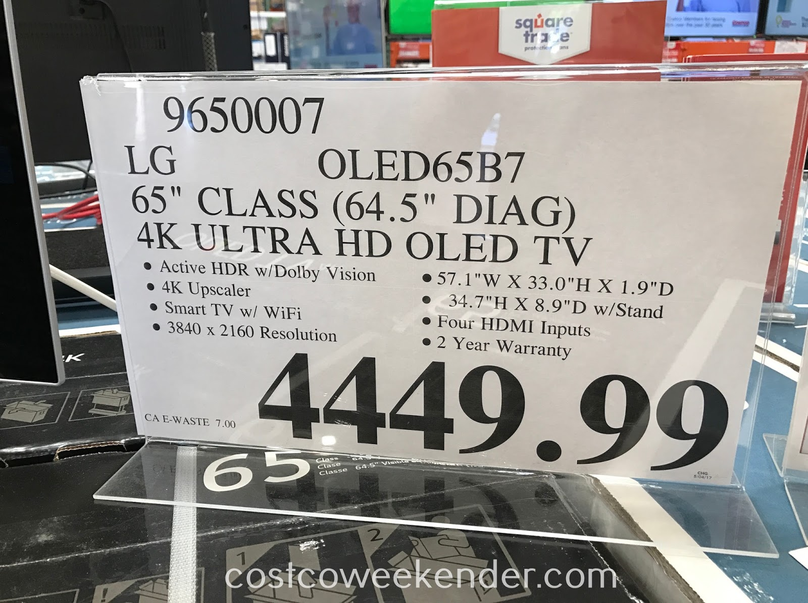 Deal for the LG OLED65B7 65-inch 4K Ultra OLED TV at Costco