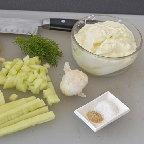 Making homemade tzatziki sauce