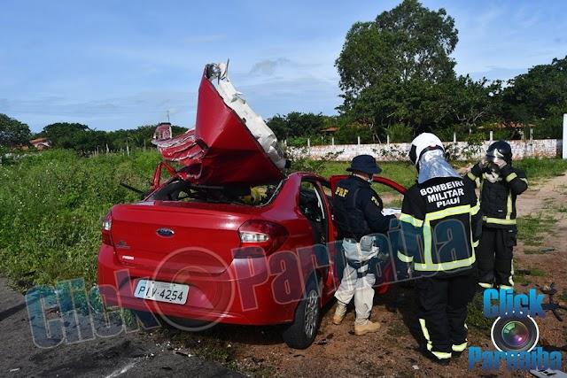 Tragédia: Colisão entre carreta e carro de passeio deixa um morto na BR 343, próximo a Parnaíba