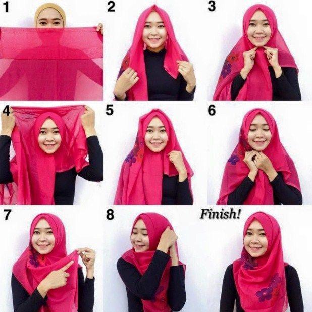 cara memakai hijab segi empat terbaru menutup dada