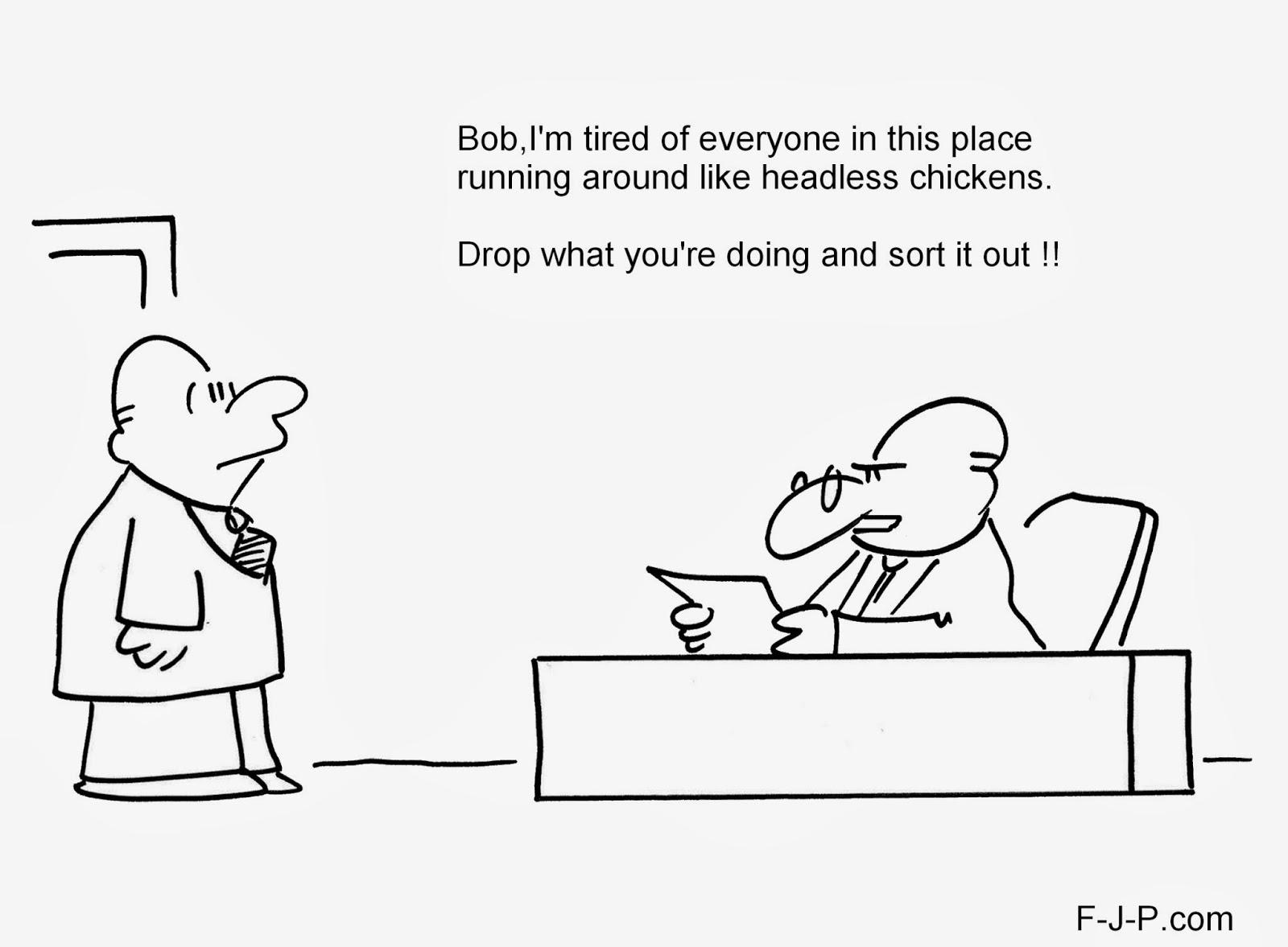 Funny Headless Chicken Boss Cartoon Joke Picture